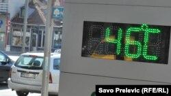 Temperatura izmjerena u Podgorici 4.avgusta 2017.