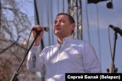Алесь Ліпай падчас сьвяткаваньня 100 год Беларускай Народнай Рэспублікі, 25 сакавіка 2018