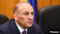 Armenia - Newly appointed Finance Minister Gagik Khachatrian is introduced to his staff, Yerevan, 28Apr2014.