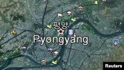 Столица Северной Кореи Пхеньян на карте Google Earth.