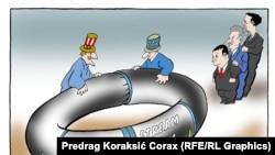 "Карикатура Предрага Кораксича на тему о проекте ""Южный поток""."
