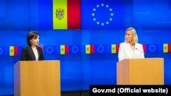 Maia Sandu și Federica Mogherini la Bruxelles, 30 septembrie 2019