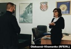 Невенка Банич, держсекретарка Міністерства ветеранів Хорватії, під час інтерв'ю з кореспондентом Радіо Свобода