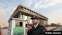 Police man the main gate of Iran's state broadcaster, IRIB. File Photo