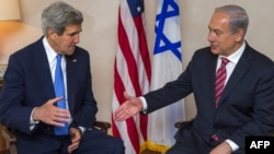 U.S. Secretary of State John Kerry (left) and Israeli Prime Minister Benjamin Netanyahu during their meeting in Jerusalem on April 9.