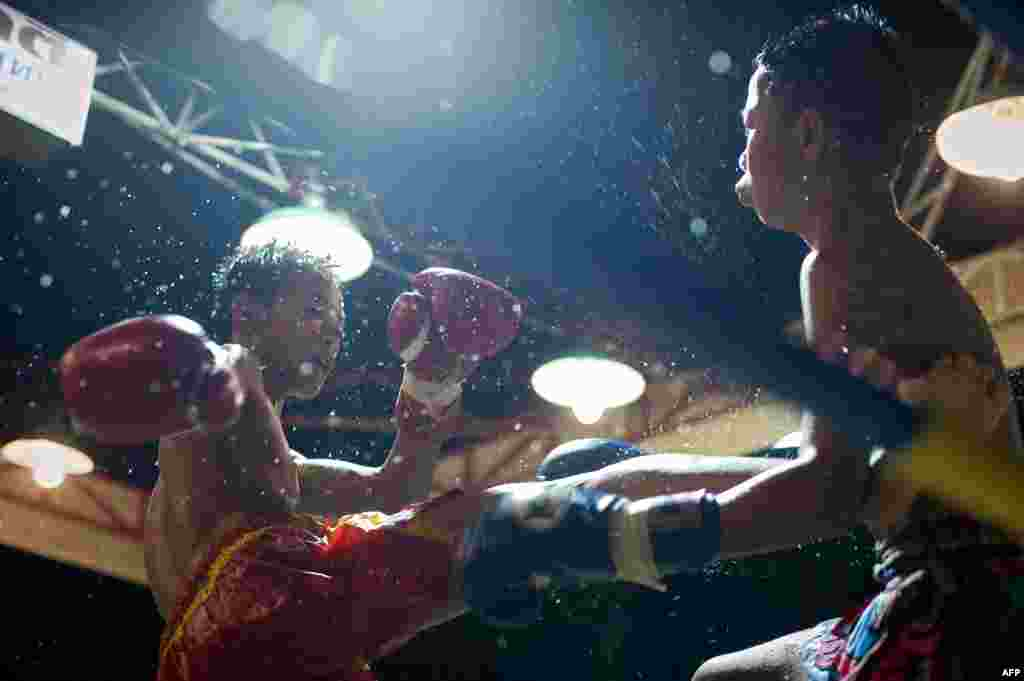 Fighting Muay Thai boxers