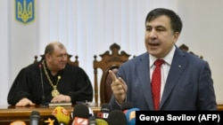 UKRAINE -- Former Georgian president Mikheil Saakashvili gives a press conference before the appeal hearing regarding the Kiev district court that ruled to release him from custody at a courthouse in Kiev on January 19, 2018.