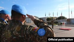 Lebanon - Armenian soldiers of the UN Interim Force in Lebanon attend an official ceremony.