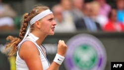 Czech tennis player Petra Kvitova (seen here during her championship run at Wimbledon in 2011) won one of her two matches in the finals.