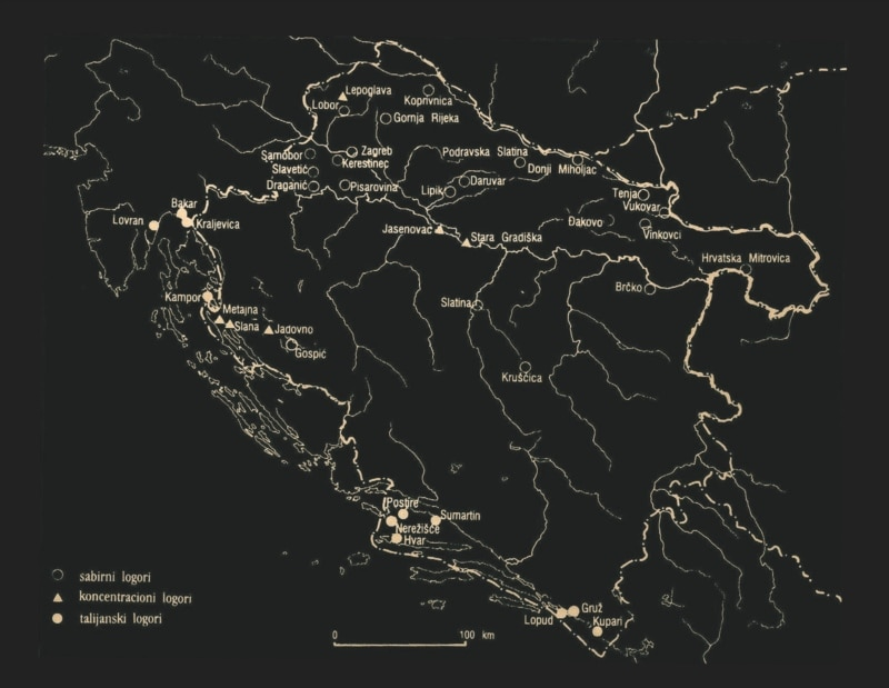 Logori u Nezavisnoj državi Hrvatskoj, mapa