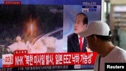 Pamje e transmetimit të sotëm në televizion në Korenë Jugore të raportit për testin raketor të Koresë Veriore