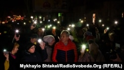 Ukraine -- People protesting near the burnt college in Odesa, 7Dec2019