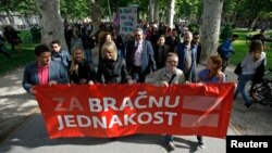 Marš aktivista u centru Zagreba u maju 2013.