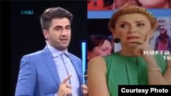 TV aparıcıları Zaur Baxşəliyev və Xoşqədəm Hidayətqızı.