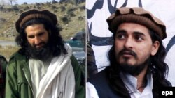 A combined photo of an undated handout image showing Khan Said Sanja, also known as Khalid (left), who is thought to have been named interim head Chief of the Tehrik-e Taliban Pakistan (TTP) after the death of Taliban leader Hakimullah Mehsud (right)