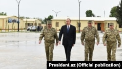 Azerbaijan - President Ilham Aliyev visits a military base in the Terter district.