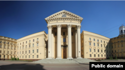 Belarus - KGB building in Minsk. Panoramio image ID 51127650, undated