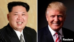 A composite file photo of North Korean leader Kim Jong Un (left) and U.S. President Donald Trump.