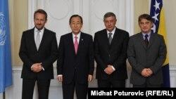 Бан Ки Мун na средба со членовите на Претседателството на Босна и Херцеговина.