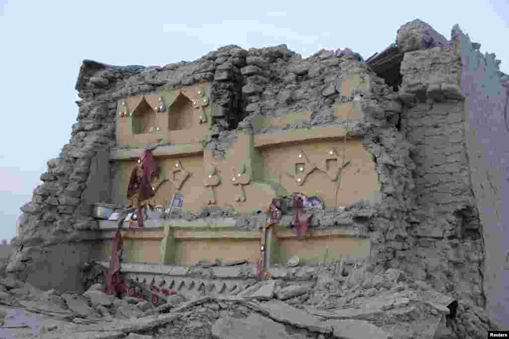 The rubble of a house is seen after it collapsed following the quake in Awaran.