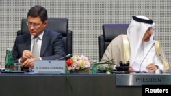 Russia's Energy Minister Aleksandr Novak (left) and Saudi Arabia's Energy Minister and OPEC conference President Khalid al-Falih in Vienna on May 25