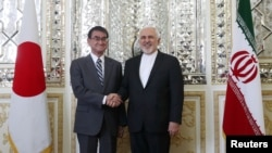 Iranian Foreign Minister Mohammad Javad Zarif meets with Japanese Foreign Minister Taro Kono in Tehran, Iran June 12, 2019. File photo