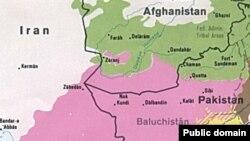 Пәкістанның Белуджистан провинциясының картасы. Көрнекі сурет.