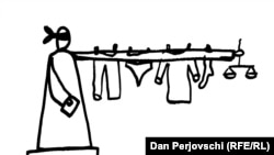 Sistemul Judiciar. Caricatură de Dan Perjovschi.