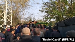 The funeral ceremony in Dushanbe of a Tajik border guard killed in the attack.