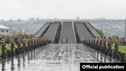 Armenia -- A military honor guard at the Armenian Genocide Memorial Complex in Yerevan, April 24, 2020.