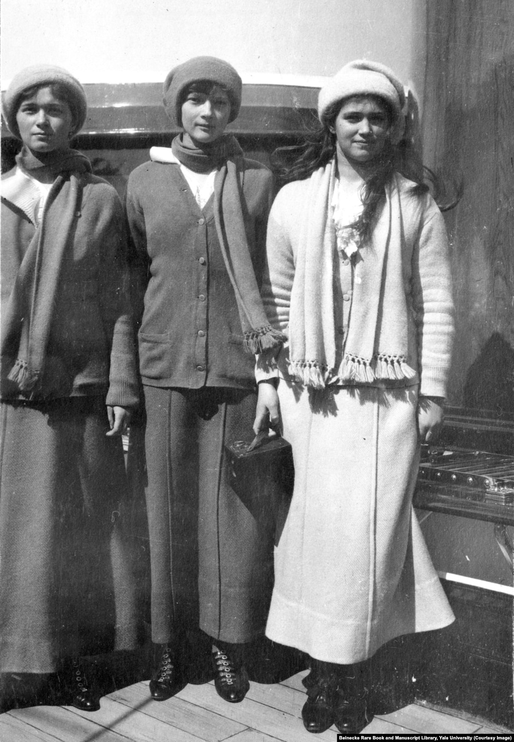 Grand Duchesses Olga, Tatyana, and Maria aboard the Standart in 1914. The sisters were 22, 21, and 19 years old when they were killed.