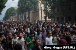 Georgians rally for the arrested rappers in Tbilisi on June 10.