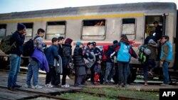 Migranti se ukrcavaju na voz, železnička stanica u Šidu, 3. novembar 2015.