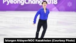 Казахстанский фигурист Денис Тен на Олимпийских играх в Южной Корее. Пхёнчхан, 16 февраля 2018 года.