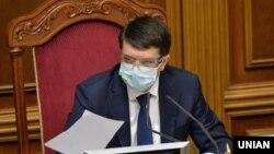 Голова Верховної Ради Дмитро Разумков під час позачергового засідання парлваменту в Києві, 24 квітня 2020 року