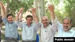 Members of the Teachers Association of Iran, with Rasul Bodaghi second from right