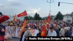 VMRO-DPMNE supporters demonstrate in Skopje on May 2.