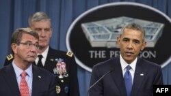 ԱՄՆ - Նախագահ Բարաք Օբաման Պենտագոնում ելույթ է ունենում «Իսլամական պետության» դեմ պայքարի թեմայով, Վաշինգտոն, 6-ը հուլիսի, 2015թ.