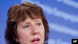 Верховный представитель Евросоюза по иностранным делам Кэтрин Эштон. Брюссель, 23 августа 2011 года.