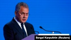 RUSSIA - Russian Defence Minister Sergei Shoigu delivers a speech during the annual Moscow Conference on International Security (MCIS) in Moscow, Russia April 4, 2018.