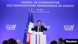 Президент Франции Эммануэль Макрон выступает на ежегодном ужине Координационного совета армянских организаций Франции, Париж, 5 февраля 2019 г.