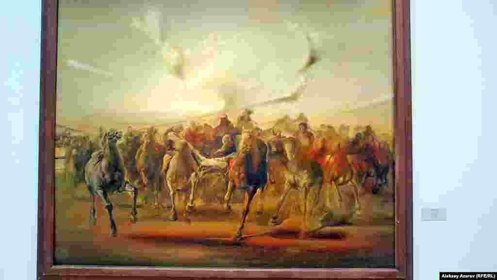 Несколько работ на выставке «Эхо Великой степи» посвящены бытовым темам. Например, национальной игре «Кокпар». Это картина Ерболата Тулепбаева, написанная в 1988 году.