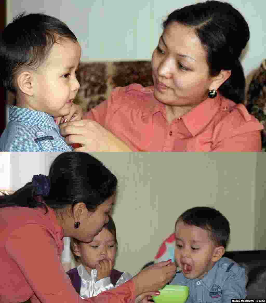 27-летняя преподавательница в университете, мать двоих детей Динара Киялова хотела бы, чтобы ее дети жили не в маленькой квартире, а радовались будням в большом коттедже. Алматы, 2 марта 2013 года.