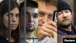 Коллаж из фотографий Надежды Толоконниковой, члена панк-группы Pussy Riot, активиста с Болотной Степана Зимина, Алексея Навального и члена Greenpeace Пола Ружицки.