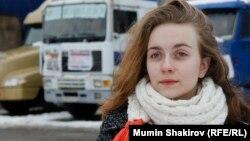 Анастасия Никитенко в лагере протестующих водителей
