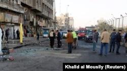 Бағдадтағы жанкешті жарылыс жасаған алаң. Ирак, 15 қаңтар 2018 жыл.