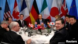 Лідери «Групи семи» і чільники ЄС на зустрічі в Гаазі, 24 березня 2014 року