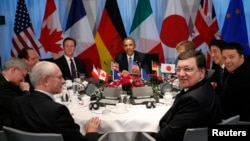 G7 leaders meeting in The Hague on March 24, where they rebuked Moscow and expressed support for the Ukrainian government