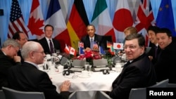 Leaders of the Group of Seven leading industrialized nations at their meeting in The Hague on March 25.