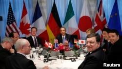 """Встреча лидеров стран """"Большой семерки"""" в Гааге, 24 марта 2014 года."""